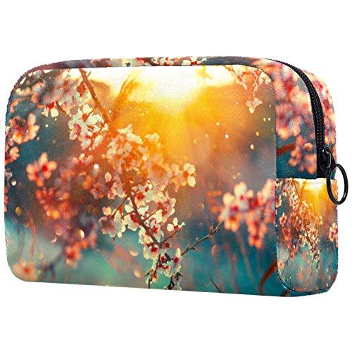 Bolsa de cosméticos para mujer, hermosa escena de la naturaleza, flor de sol, huerto, bolsas de maquillaje, accesorios organizador de regalos