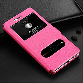 WSDDNTZ Wallet Flip Case For Huawei On Honor 7A 6C Pro 7C 7X 6A 9 10 P Smart P20 P8 P9 P10 Lite Luxury Window View Leather Case Y6 2018 Huawei P8 Lite 2017 Pink