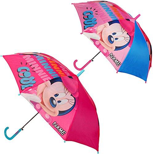 alles-meine.de GmbH AUTOMATIK Regenschirm -  Disney - Minnie Mouse - bunt  - inkl. Name - Ø 86 cm / Kinder - groß Stockschirm mit Griff - großer Kinderregenschirm / Automatiksc..