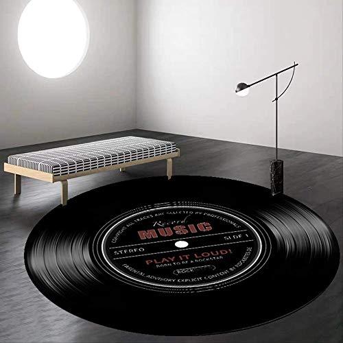 Tappeti Rotondi Musica Retrò Disco In Vinile Tappeti Stampati In 3D Per Soggiorno Oggettistica Per La Casa Camera Dei Bambini Tappetini Per Sedie Computer Regalo Per Bambini Diametro 100 Cm Nero
