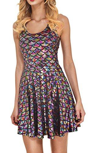 WOZNLOYE Sommer Damen Kurz Kleid Mode Rundhals Ärmelloses Minikleid Strandkleider Chic...