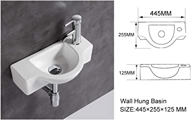 Bathroom Ceramic Washbasin and Faucet Combo White Small Sink Wall Mount Sink Corner Sink Set Chrome Pop-up Drain Included (Si