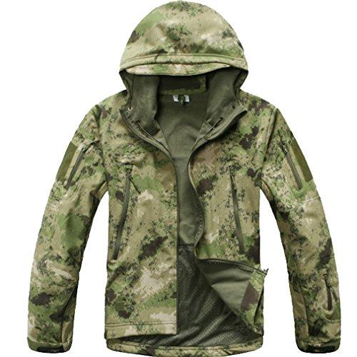 REEBOW GEAR Militaer Taktische Softshell Jacke Outdoor Fleece Kapuzenjacke Gruen ATACS Camo XL