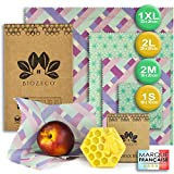 BIOZECO Set de 6 Envoltorios Reutilizables de Cera de Abeja para Alimentos – Bee Wraps Ecológicos y Lavables de Varios Tamaños – Efectivos para Conservar los Alimentos y para Ser Zero Waste