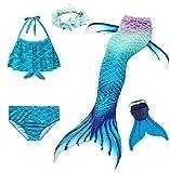 Cola de Sirena para Natación Traje de Baño 5pcs Mermaid Bikini Establece para Niña Disfraz de...