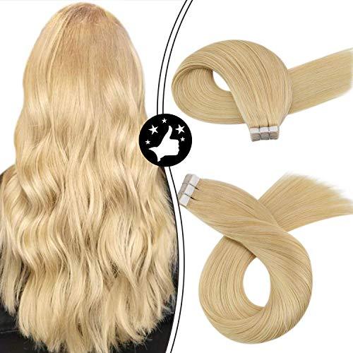 Moresoo Medium Brown to Platinum Blonde Tape in Hair Extensions