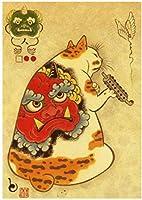日本の侍タトゥー猫の壁アート写真ヴィンテージキャンバス絵画プリントタトゥー動物レトロポスターリビングルームの家の装飾40x60cmフレームなし-S3