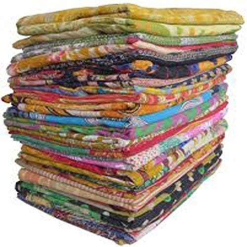 10 Pieces Mix Lot of Indian Tribal Kantha Quilts Vintage Cotton Bed Cover Throw Old Sari Made Assorted Patches Made Rally Whole Sale Blanket (52X80 Inches) Twin Size Kantha Quilt
