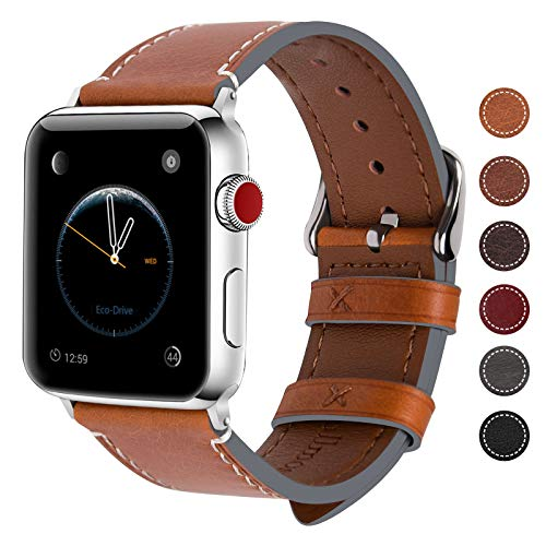 Fullmosa Kompatibel Apple Watch Armband 42mm(Series 4 44mm),Leder Wax Series iWatch Band/Ersatzband für Apple Watch 5/4/3/2/1,Hellbraun + Silber Schnalle