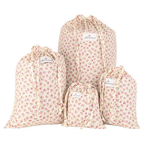 Neoviva - Bolsas de algodón con cordón para organizar el hogar y los viajes, juego de 4 en diferentes tamaños