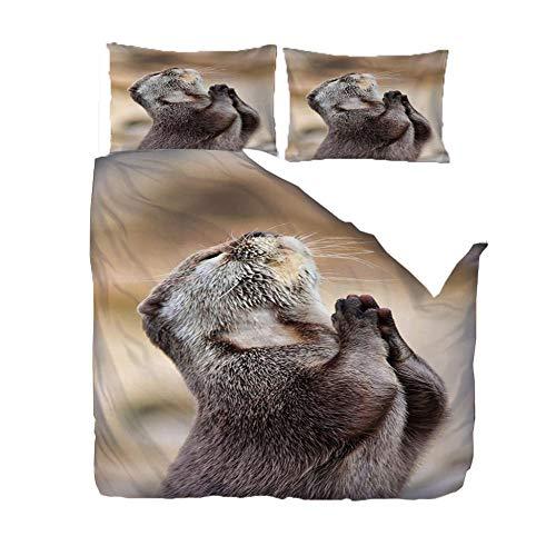 ZLLBF Bettwäsche 140x200 Otter Weiche Und Angenehme Mikrofaser Schlafkomfort Bettbezüge Mit 2 Kissenbezug 50x75cm