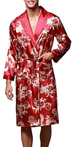 OLIPHEE Hombre Floral Kimono Pijama Albornoces Ropa (3XL, Vino Rojo)
