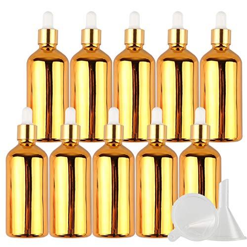 10 Piezas Frasco Gotero De Vidrio Galvanoplastia Vacías De 100 ml, Botellas Pequeñas de Muestra de Oro Recargables Botellas de Subcontenedor Para Aceites Esenciales Aromaterapia Laboratorios +Embudo