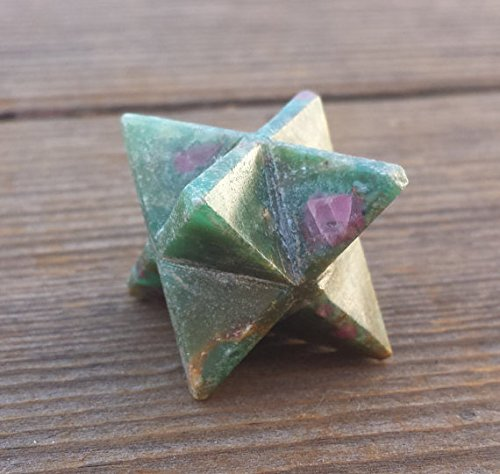 [A&S Crystals] GEMSTONE MERKABA STAR Natural Ruby In Fuchsite (One)