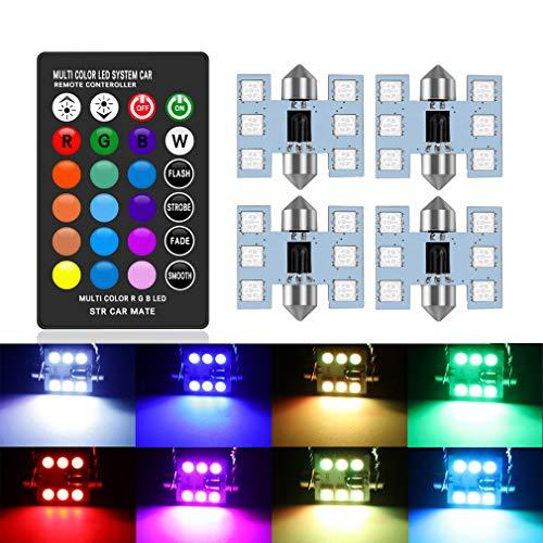DE3175 LED Bulbs 31mm 1.25 Inches Festoon RGB with Remote Control, 16 Colors Change Car Interior Light Dome Map Courtesy Lamps License Plate Lights DE3021 DE3022 3175 6428