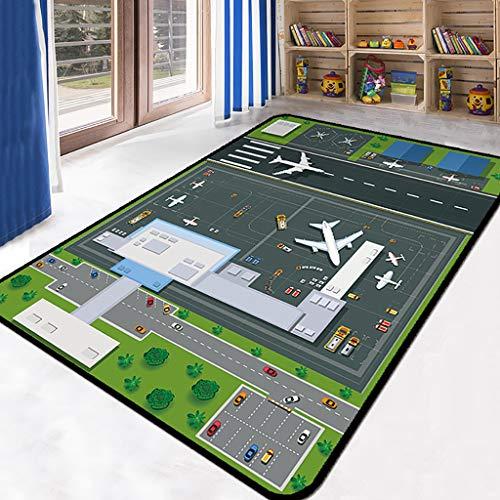 HSRG Kinderteppich Spielmatte, rutschfeste Unterlage Pädagogischer Straßenverkehrsteppich zum Spielen mit Autospielzeug