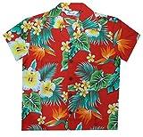 Hawaiian Shirts 46B Boys Flower Leaf Beach Aloha Holiday Casual Red L