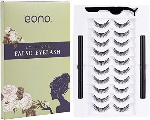 Amazon Brand – Eono Pestañas Postizas y Delineador de Ojos, Pestañas Largas y Gruesas Reutilizables, Utilizadas Para Extender Las Pestañas de Maquillaje