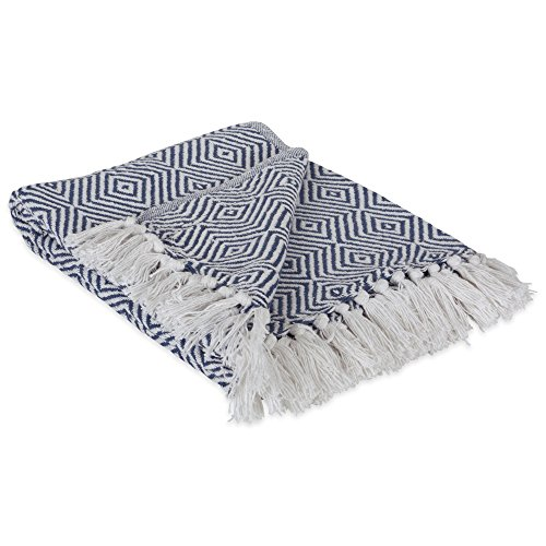 DII 100% Cotton Geometric Daimond Throw for Indoor/Outdoor Use Camping BBQs Beaches Everyday Blanket, 50 x 60, French Blue