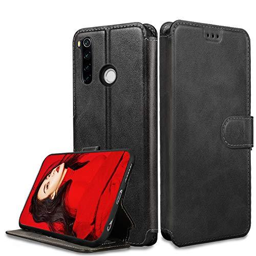 LeYi Hülle für Xiaomi Redmi Note 8 Mit HD Folie Schutzfolie,Leder Wallet Etui Handyhülle Magnet Tasche Slim Silikon Soft Skin Grip Schutzhülle Cover Hülle für Handy Redmi Note 8-Matt Schwarz