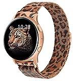 ZGCE Kompatibel mit Samsung Galaxy Watch Active / Active 2 40mm/44mm Armband, 20mm Edelstahl Mesh MetallUhrenarmband für Gear Sport/S2 Classic/Garmin Vivo active 3/Watch 3 41mm (20mm, Leopard)