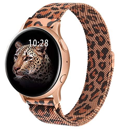 Wanme Correa Compatible con Samsung Galaxy Watch Active/Active 2 40mm 44mm, 20mm Metal Pulsera de Repuesto de Acero Inoxidable para Galaxy Watch 3 41mm / Gear S2 Classic/Gear Sport (Leopardo)