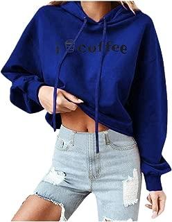 Futurelove Women Christmas Coffee Print Comfy Soft Cute Teen Girls Casual Long Sleeve Hooded Sweatshirt Pullover