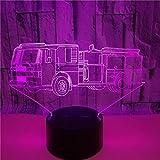 FREEZG lamparitas de noche dormitorio Camión de bomberos juguete niños LED de 7 Colores con Soporte y Control Remoto y USB Recargable Regalos Para Cumpleaños y Fiesta Para Los Amantes de los Bebés [C