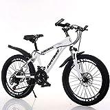 Bicicletas de montaña, Bicicletas de Freno de Disco Doble para Estudiantes y Adultos, Bicicletas de montaña de Velocidad Variable de 21 velocidades (Color: Rosa, Tamaño: 20 Pulgadas)