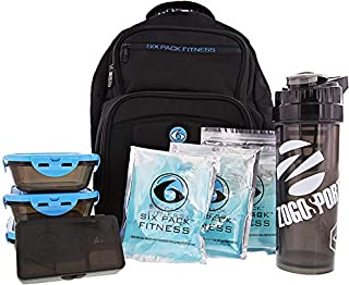 6 Pack Fitness Expedition Backpack W/Removable Meal Management System 300 Black/Neon Blue