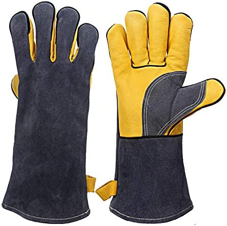 KIM YUAN Extreme Heat Fire Resistant Gloves Leather with Kevlar Stitching Mitts Perfect for product image