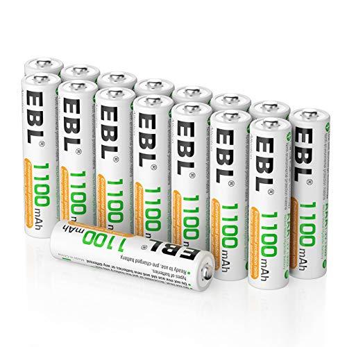 EBL 16PCS Piles AAA Rechargeables 1100mAh 1,2V Ni-MH Batterie, Haute Capacité et Longue Durée