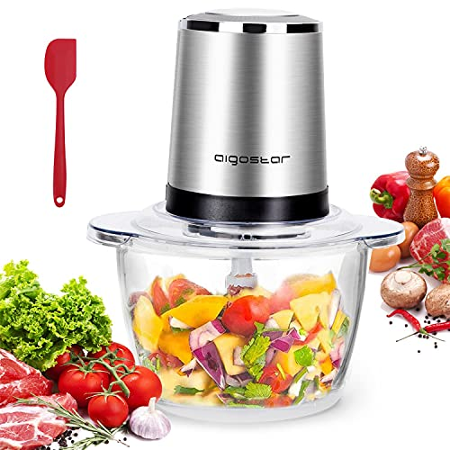 Aigostar Vortex - Picadora Eléctrica de Alimetos 500W, Trituradora de Alimentos, 4 Cuchillas de Acero Inoxidable, Vidrio Resistente 1,2L, 2 Velocidades, Picadora de Carne Verduras, Frutas y Queso