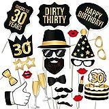 30 Geburtstag Foto Requisiten,Photo Booth Props Dekoration Accessoires,Geburtstagsfeier lustige Fotorequisiten,Party Requisiten Selfie...