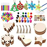🎄 All in one Set:50pcs wooden Christmas hanging ornaments in total, (10 x Christmas tree wooden slice, 10 x snowflake wooden slice, 10 x round blank wooden slice, 10 x sock wooden slice, 10 x star wooden slice), 50 x 8.07 inch Jute Twine, 50 x 0.6 in...