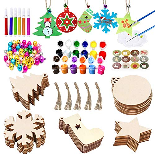 VLUSSO 50Pcs Unfinished Wooden Christmas Ornaments 5 Styles Christmas Tree Ornaments Decorations - DIY Arts and Crafts Christmas Crafts for Kids with 50 Colorful Bells 6 Color Pens 2 Color Paint Set