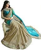 Flosive Women's Georgette Net Embroidered Work Bollywood Saree With Blouse Piece
