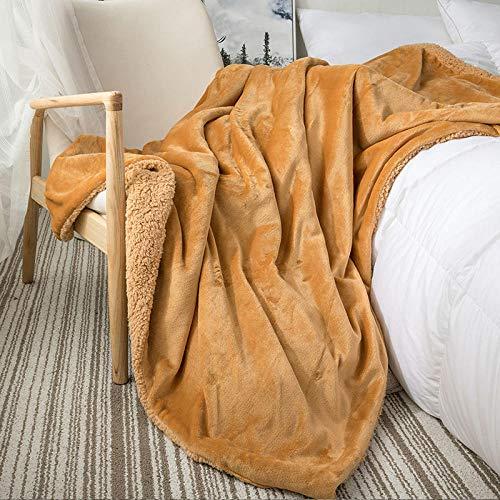 XUMINGLSJ Mantas para Sofa, Mantas para Cama de Franela Reversible, Mantas Ligeras de 100% Microfibra - Fácil De Limpiar - Extra Suave Cálido -Camello_El 180x200cm