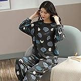 ZXXFR Pijamas de Mujer Cárdigan de algodón de Color Liso con Manga Larga Conjuntos de Pijama,Pijama Set Mujer 2 Piezas, cómodo y Transpirable Suave Ropa de casa
