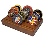 Challenge Coin Display Stand Rack Military Coin Holder (Walnut Finish)