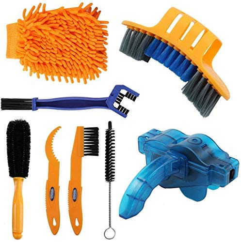 Sanstar 8pcs Bicycle Clean Brush Kit, Motorcycle Bike Chain Cleaning Tools...
