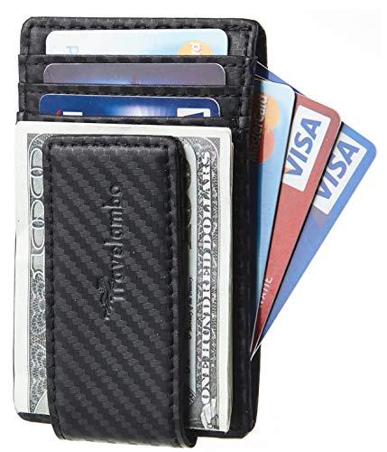 Travelambo Money Clip Front Pocket Wallet Slim Minimalist Wallet RFID Blocking (Carbon Black)