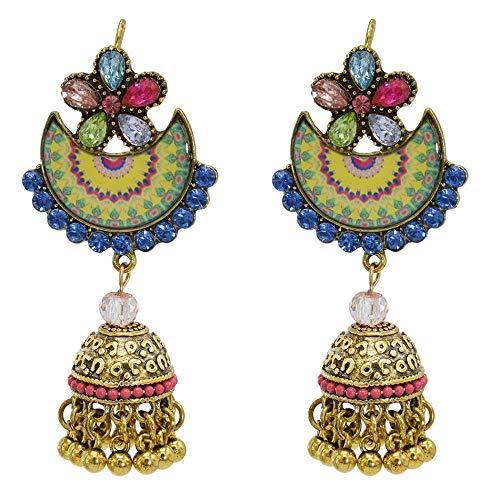 Nuevos pendientes retro de flecos de media luna con diamantes, estilo étnico de mujer, pendientes largos de personalidad de moda-color