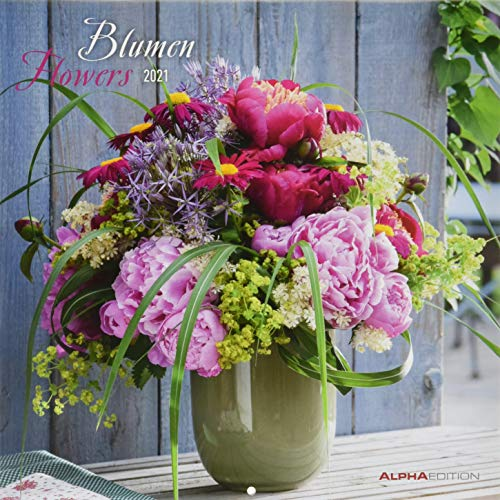 Blumen 2021 - Broschürenkalender 30x30 cm (30x60 geöffnet) - Flowers - Bild-Kalender - Wandplaner - mit Platz für Notizen - Alpha Edition
