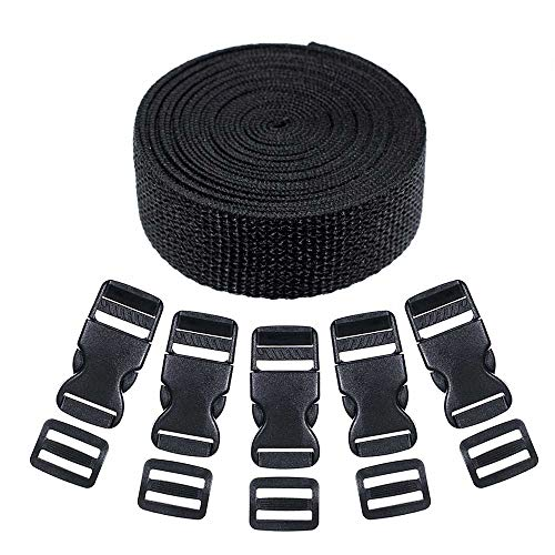 Craft County Webbing and Buckle Kits - Comes with Webbing, Buckles, and Tri-Glide Clips (Black, 5 Yards of Webbing Kit)