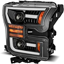 AlphaRex PRO-Series Jet Black For 15-17 Ford F150 Halogen Type LED Tube Dual Projector Headlights with Switchback DRL/Sequential Signal/Activation Light