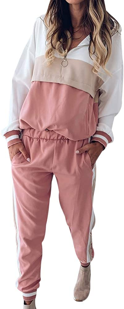 LoVnely Women Sweatsuit Sets Color Block Zip Hoodie and Long Pant 2 Piece Outfits Set Plus Size