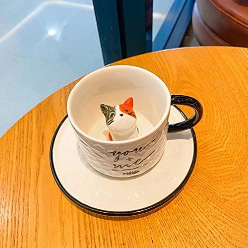 UKKD Tazas De Café Taza De Cerámica Del Alivio De La Historieta Pequeña Taza De Café Del Gato Con El Plato De La Taza Taza De Leche-Grey Red Eared Cat,220Ml