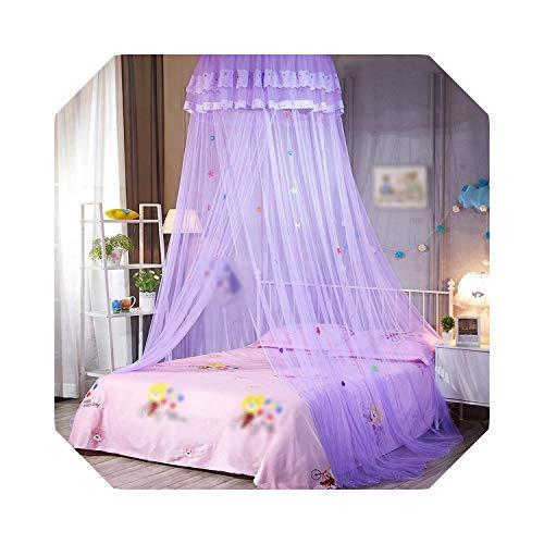 Eileen Ford Voor kinderen | Hung Dome-klamboe voor dubbel meerkleurig bednet Luifel voor thuis Kant-klamboe voor volwassenen voor -Purple-A-1.0m (3.3 Feet) Bed