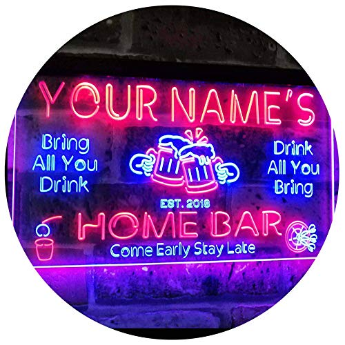 ADVPRO Personalized Your Name Custom Home Bar Beer Established Year Dual Color LED Neon Sign Blue & Red 24 x 16 Inches st6s64-p1-tm-br